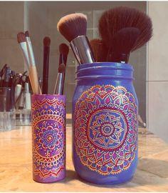 DIY. Mason jar. Shot glass. DIYmasonjar . Hand painted mason jar. Mandala print…