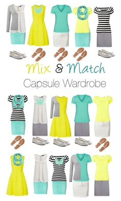 """Capsule Wardrobe: Yellow and Mint"" by mary-grace-see on Polyvore featuring Closed, Lela Rose, Aventura, Dolce&Gabbana, Hurley, Issey Miyake, Pure Collection, Aéropostale, ModestlyChic Apparel and Repetto"