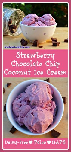 This strawberry chocolate chip ice cream is dairy-free, honey-sweetened, and suitable for the GAPS and Paleo diets. Try this easy and delicious coconut ice cream today!