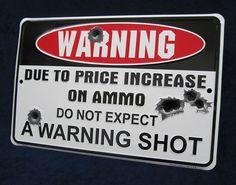 WARNING GUN SHOT Embossed Metal Tin Sign Man Cave Rifle Pistol Hunting Cabin Bar #Unbranded #Modern