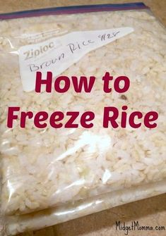 How to Freeze Rice. Easy step by step instructions on How to Freeze Rice & Rehea… How to Freeze Rice. Easy step by step instructions on How to Freeze Rice & Reheat Frozen Rice. Works for Brown and white rice Make Ahead Freezer Meals, Freezer Cooking, No Cook Meals, Cooking Tips, Freezer Recipes, Meals To Freeze, Cooking Pork, Recipes To Freeze, Cooking Broccoli