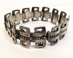 Vtg Sterling Silver Margot De Taxco Link Bracelet Double Greek Key Signed 58.8g #MargotdeTaxco