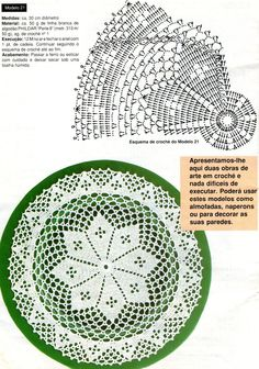 White doily with diagram