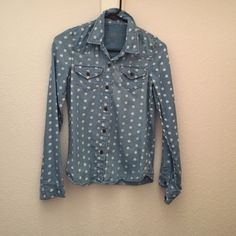 Shirt Polka dotted, blue jean top. PacSun Tops Button Down Shirts