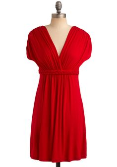 Closet Braid Dress in Ripe Cherry - Red, Solid, Braided, Casual, A-line, Short Sleeves, Empire, Short, Exclusives, Jersey, V Neck, Top Rated