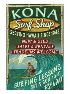 Kona, Hawaii - Surf Shop Print by Lantern Press at Art.com