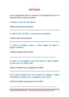 Textos cortos de lectura inferencial Speech Language Therapy, Speech And Language, Teaching Spanish, Reading Comprehension, Proverbs, School, Games, Texts, Reading Strategies