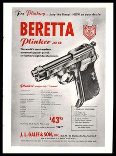 1953 BERETTA Plinker .22 LR Pistol Auto Pocket Pistol PRINT AD Gun Advertising