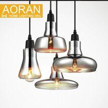 Vintage pendentif en verre lumière gris couleur, couleur claire, ambre couleur pendentif lampes avec ampoules 110 V/220 V led lampes suspendues(China (Mainland))