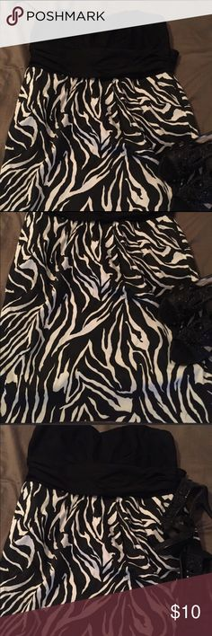 Ashley Stewart Zebra Print Strapless Dress Strapless zebra Print black dress with pockets.  Perfect for party, date night, or special occasion. Dress is like new. Ashley Stewart Dresses Strapless