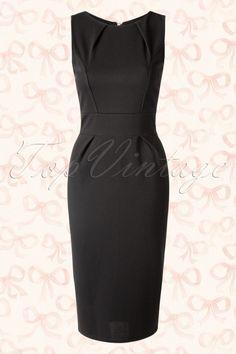Vintage Chic - 50s Malibu Pencil Midi Dress in Black