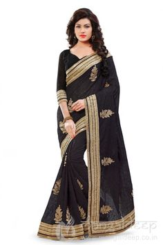 http://www.mangaldeep.co.in/sarees/sizzling-black-catonic-georgette-designer-saree7412 For more details contact us : +919377222211 (whatsapp available)