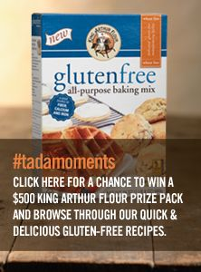 King Arthur Flour is recreating the foods you love with their new Gluten-Free All-Purpose Baking Mix. Click the pin to get recipes, plus a chance at winning $500 in prizes!