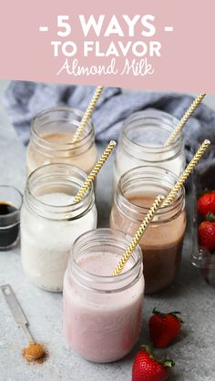 5 Ways to Flavor Almond Milk -- Flavor up your store bought almond milk with one of these amazing tasty variations. From strawberry to dirty chai, these flavors are going to blow your mind.