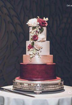 burgundy and rose gold wedding cake. burgundy and rose gold wedding cake. burgundy and rose gold wedding cake. Wedding Cake Roses, Wedding Cakes With Flowers, Rose Wedding, Gold Wedding Cakes, Rosegold Wedding Cake, Rose Gold Weddings, Cheap Wedding Cakes, Wedding Makeup, Dream Wedding