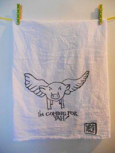 Flying Pig Kitchen Towel