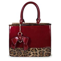 PATENT LEOPARD & BOW TOTE