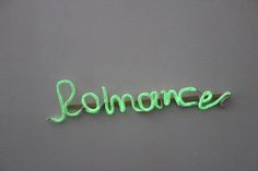 "Neon Sign ""Romance"" clay wall word glow in the dark modern home decor design handmade paper clay recycled materials eco friendly"