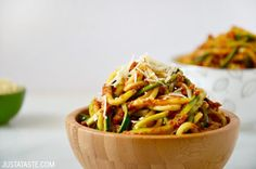 Skip the pasta in favor of a quick and healthy recipe for zucchini noodles with sun-dried tomato pesto.