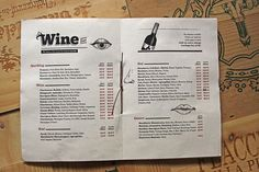 Wine list layout. Like the indents
