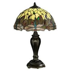 Dale Tiffany Tiffany Dragonfly Collection 22 in. Antique Bronze Table Lamp-FTT10015 at The Home Depot