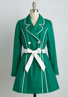 East Coast Tour Trench in Grass by ModCloth - Green, Solid, Buttons, Pockets, Belted, 50s, Long Sleeve, Spring, Woven, Good, Collared, Tan / Cream, Casual, Menswear Inspired, Long, Colorsplash, Vintage Inspired, Variation, Nautical, 1, Work