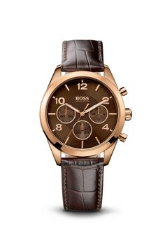Hugo Boss Chronograph Brown Croc-Embossed Leather Watch.   #Women, #Watches #Brown