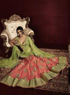 Green & Pink Netted Latest Lehenga Online Shopping ,Indian Dresses - 3