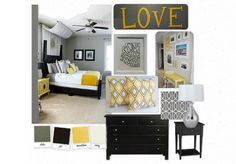 gray and yellow master bedrooms - Google Search