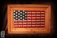 Shotgun Shell American Flag Decor  Cedar Framed by FJCreations, $100.00