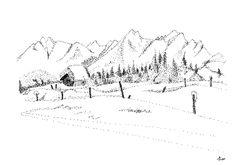 Winterlandschaft Tusche