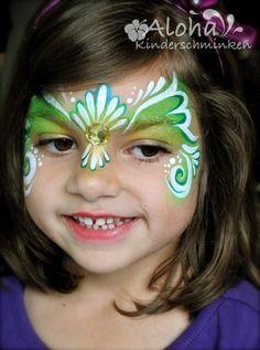 Schmink prinses / Face paint - green princess www.hierishetfeest.com