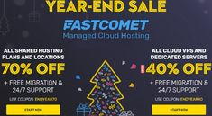 With the hopes of 2021 bringing brighter days, FASTCOMET offer you a positive finish to this year's hosting deals: Save 70% Off New Shared Plans. Save 40% Off New Cloud VPS plans. Save 30% Off New Dedicated CPU Server Plans. Save 10% Off upgrades to higher plans. Save 80%+ Off Selected Domains: