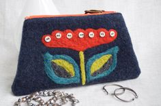 Dutch Darling - Wool with Needle Felted Flower Zippered Pouch by cstreetstudio