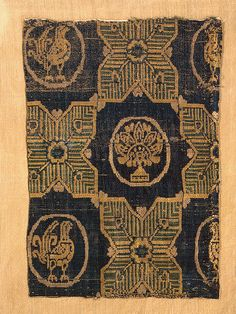 Textile Fragment (Byzantine Silk)  Silk; samite. 25x17 cm  Early medieval culture of the Adygo-Alanian tribes. 8th century  Khasaut Burial Mound (?), North-western Caucasus, Karachayevo-Cherkessk Republic, environs of the City of Kislovodsk