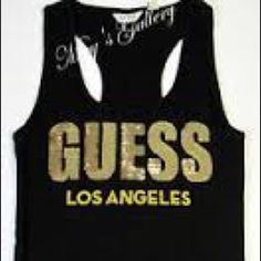Sequined Guess Top New with Tags! Size small, new with tags, perfect condition racer back tank top. Guess Tops Tank Tops