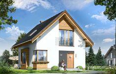 Projekt Gucio to parterowy dom jednorodzinny z poddaszem użytkowym dla rodziny cztero-pięcioosobowej. Zaprojektowany została planie prostokąta i przekryty symetrycznym dwuspadowym dachem. Prosta bryła budynku w połączeniu z nowoczesnym detalem i materiałami daje atrakcyjny wygląd zewnętrzny domu. Fragmenty elewacji obłożone drewnem, czy płytami HPL dodatkowo urozmaicają białe powierzchnie ścian.