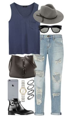 """Inspired outfit with ripped jeans"" by pagesbyhayley ❤ liked on Polyvore featuring rag & bone, Alygne, Yves Saint Laurent, Maison Margiela and Burberry"