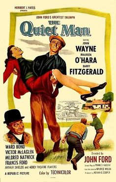 The Quiet Man: 1952 Irish–American romantic comedy-drama film. It was directed by John Ford and starred John Wayne, Maureen O'Hara, Victor McLaglen and Barry Fitzgerald. It was based on a 1933 Saturday Evening Post short story by Maurice Walsh. The film i The Quiet Man Movie, Love Movie, I Movie, Movie Stars, Movie Blog, Movie List, Old Movie Posters, Classic Movie Posters, Classic Films