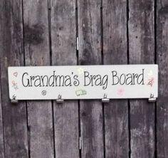 Childrens Artwork Hanger, Clipboard for Childrens Art, Grandma Sign, Artwork Display, Handpainted Wood Sign, Wall Hanger for Artwork