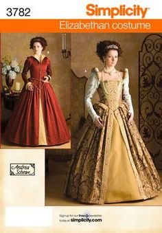 Simplicity 3782 Misses Womens Elizabethan Costume Gown Dress Historical (use with Simplicity 2621 underpinnings)