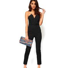 Cyber Ladys Off-shoulder V-neck Backless Slim Jumpsuit Cocktail Party Clubwear ( Black )   Lazada Indonesia