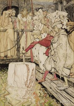 """How Galahad drew out the sword from the floating stone at Camelot"" by Arthur Rackham - This illustration from Rackham was the basis for a colour plate published in the 1917 Edition of ""The Romance of King Arthur and His Knights of the Round Table"" King Arthur Legend, Legend Of King, Arthur Rackham, Children's Book Illustration, Illustrations, Roi Arthur, Ecole Art, Fantasy Fiction, Fairy Tales"