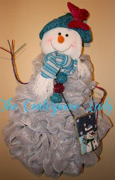 Snowman Decomesh Wreath by TheCenterpieceLady on Etsy, $75.00