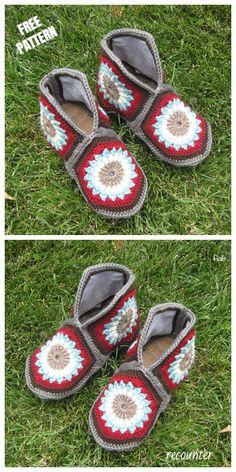 Crochet Granny Hexagon Slippers Free Patterns-Video: Granny Slippers free pattern, African flower slippers and boots. Crochet Granny, Crochet Baby, Knit Crochet, Crochet Boots, Crochet Slippers, Easy Knitting Patterns, Crochet Patterns, Monster Slippers, Crochet Slipper Pattern