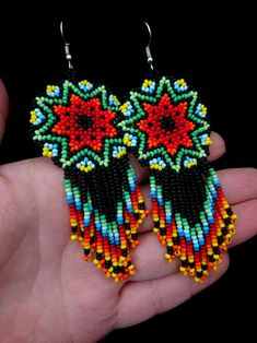 Your place to buy and sell all things handmade Beaded Jewelry Patterns, Beading Patterns, Beading Tutorials, Bracelet Patterns, Etsy Earrings, Beaded Earrings, Bead Loom Designs, Seed Bead Necklace, Seed Beads