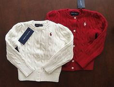 NWT Ralph Lauren Girls Cotton Cable Knit Cardigan Sweater 7 8/10 12/14 16 NEW