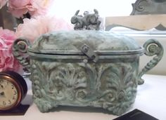 Vertigris painted patina on metal box with by tawnystreasures, $55.00