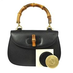 397a13dea3e8 Gucci Logos Bamboo Hand Leather Vintage Made In Italy Black Tote Bag. Get  one of