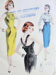 1950s Figure Flattering Slim Sheath Dress Crop Jacket Pattern BUTTERICK 8130 STRAPPY V Back UNCUT Bust 31.5 Vintage Sewing Pattern